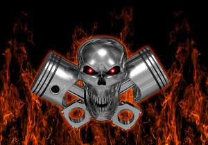 Real Flames Skull & Pistons Laptop wrap vinyl decal