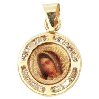 Gold, Colorful Virgin Mary Pendant Charm Lab Created Gems 11mm Wide