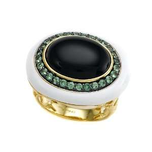 Carlo Viani® 14K Yellow Gold Plated Silver Onyx Ring with