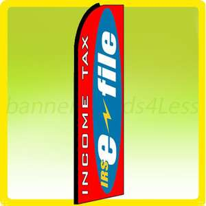 Feather Flutter Tall Banner Sign Flag   INCOME TAX IRS e FILE