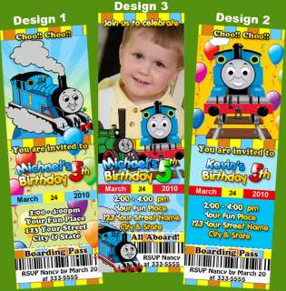 THOMAS THE TANK TRAIN TICKET BIRTHDAY PARTY INVITATIONS
