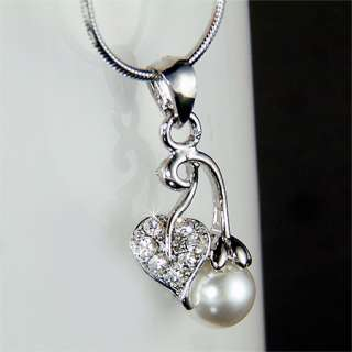 Bridal Wedding w Swarovski Crystal Pearl CHERRY Juicy Fruit Pendant