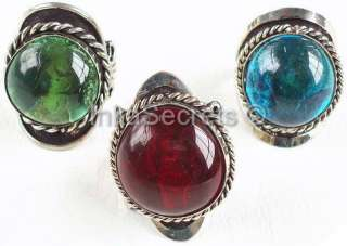 WHOLESALE LOT 85 ALPACA SILVER RINGS WITH GEM GLASS
