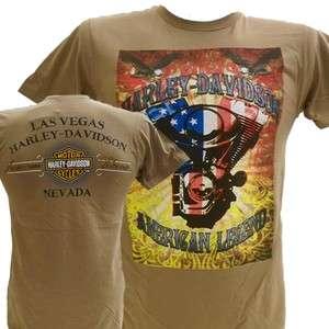 Harley Davidson Las Vegas Dealer Tee T Shirt TAN XL #BRAVA1