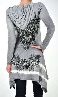 CRYSTAL SCROLLS FLORAL TATTOO GRAY HOODIE TUNIC DRESS & ED HARDY
