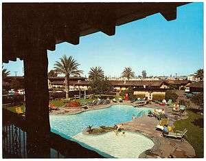 1950s WESTERN VILLAGE MOTOR HOTEL MOTEL Phoenix AZ JUMBO Adv PC Coke