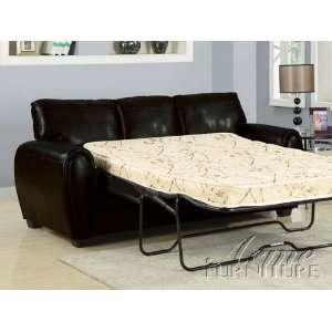 Black Bonded Leather Sofa w/Full Sleeper # A15248