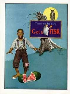 FISK TIRE AD   1925   BLACK AMERICAN BOY   WATERMELON   OWL & BIG MOON