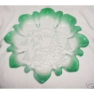 Glass Holiday Bowl with Child Decorating Christmas Tree