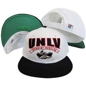 UNLV Nevada Las Vegas White/Black Snapback Adjustable Plastic Snap