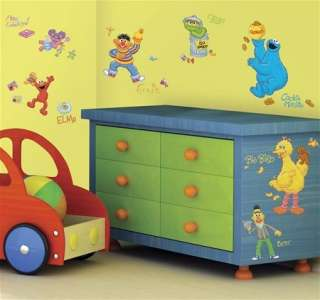 30 New SESAME STREET WALL DECALS Elmo Big Bird Oscar Stickers Baby