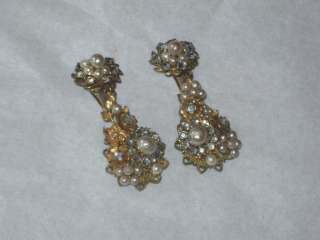 Vintage unsigned Miriam Haskell CRYSTAL RHINESTONES GOLD EARRINGS CLIP