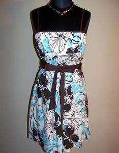 CITY TRIANGLES Brown & Aqua Print Dress, 9/10 *NWT $52
