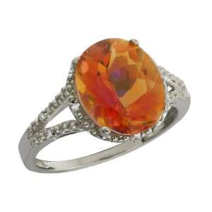 3.35 Ct Oval Twilight Orange Mystic Quartz and Topaz 10k