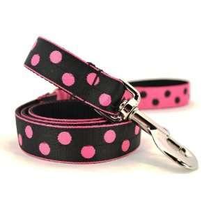 4 Foot Black & Pink Reverse Mod Dot Leash 1 wide