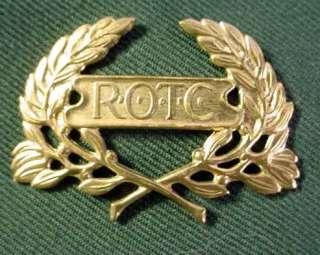 Dark Green US Army Garrison Cap w/ Brass ROTC Insignia Pin