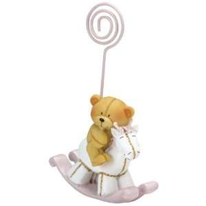 Baby Shower Favors : Pink Bear on Rocking Horse Cardholder