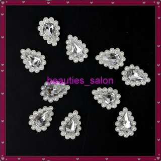 10pcs White Crystal Water drop Pearl Shape 3D Stickers Nail art