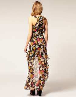 Floral Assymetric Dip Hem Chiffon Maxi Dress Sz 14 Cocktail Races