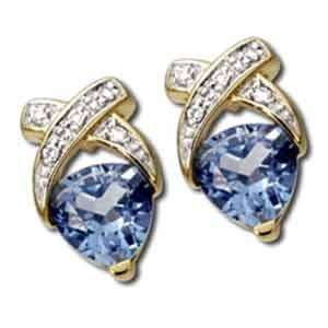14kt Yellow Gold Trillion Cut Blue Topaz and Diamond