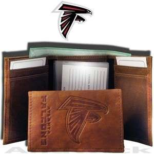 Embossed Brown Leather Wallet   Atlanta Falcons   NFL We Ship FAST