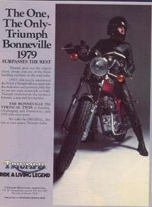 1979 Triumph Bonneville 750 Motorcycle The One Original Color Ad