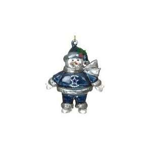 Dallas Cowboys 2.75 Crystal Snowman Holiday Tree Ornament
