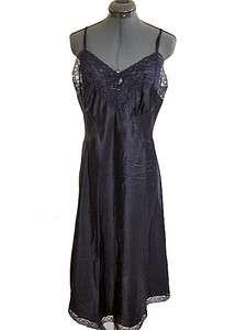 Vintage 60s Barbizon Black Lace Trimmed Silky Full Slip Size 36