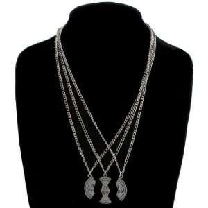 Silver Tone 3 Part Pendant Necklace Best Friends Bff Set Jewelry