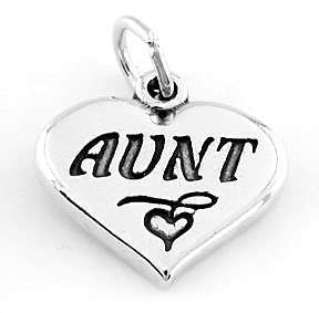 925 STERLING SILVER AUNT HEART CHARM/PENDANT