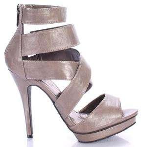 BLACK/GRAY/RED Criss Cross Strappy Sandal Shoe Heel