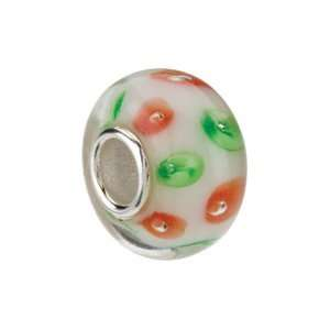 Kera Sterling Silver White With Red & Green Swirls Glass
