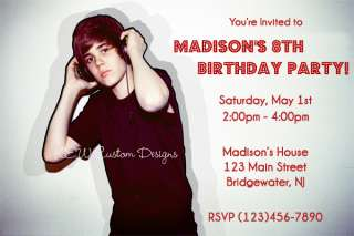 Custom Justin Bieber Birthday Party Invitations