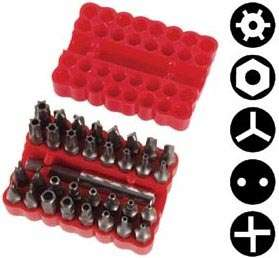 33 Pc. Tamper Proof Security Bits, Torx, Hex, Tri wing