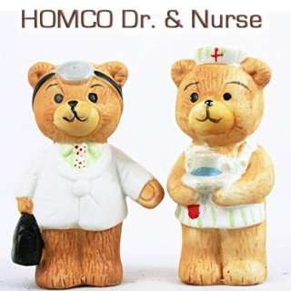 Vintage HOMCO Doctor & Nurse MEDIC BEARS Dr Bag Medical Hat 3.25