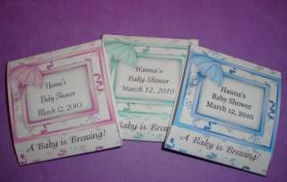 12 BABY SHOWER TEA BAG WRAPPER FAVORS PERSONALIZED