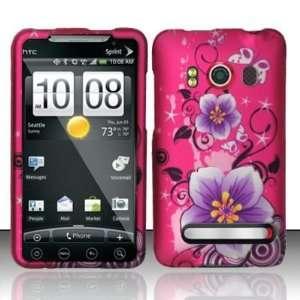 HTC Evo 4G Hibiscus Purple Pink Flower Rubberized Hard Case (free EDS