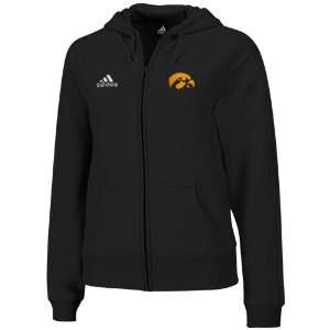 adidas Iowa Hawkeyes Ladies Black Primary Logo Full Zip Hoodie