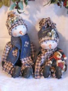 Primitive Snowman Dolls Mom & Daughter Going Ice Skating Pattern