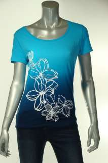 Jones New York Misses S Casual Shirt Top Blue Graphic T Flowers