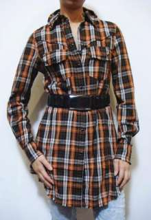 Rast by Justin Timberlake Biel Plaid Flannel Tunic Shirt Top M