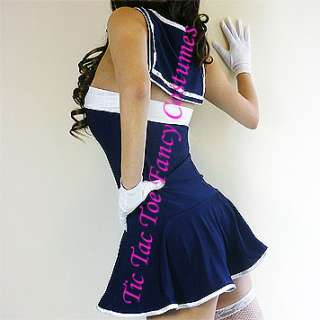 Sailor Girl Outfit Halloween Xmas Womens Fancy Dress Costume + Hat