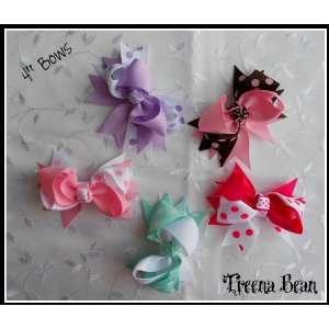 Treena Bean Set of 5 Assorted Polka Dot 4 inch Grosgrain Baby Hair Bow