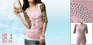 Lady Leopard Print Raglan Sleeves Studs Front Shirt Top