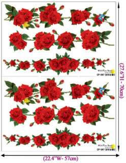 Rose Vine Flower WALL Decor STICKER Removable Art Decal