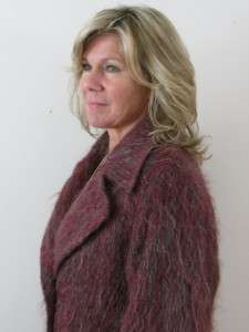 VTG 70S BARDOLINO ENGLAND LADIES MOHAIR PURPLE FUZZY COAT JACKET WITH