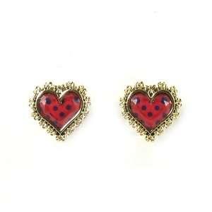 Betsey Johnson Jewelry Polka Dot Heart Stud Earrings