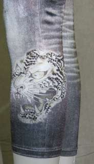 Ed Hardy Womens Denim Leggings White Tiger Head Grey