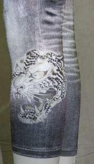 Ed Hardy Womens Denim Leggings White Tiger Head Grey