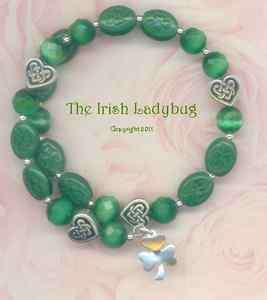 IRISH silver Heart Celtic Knot Lucky SHAMROCK Coil BRACELET